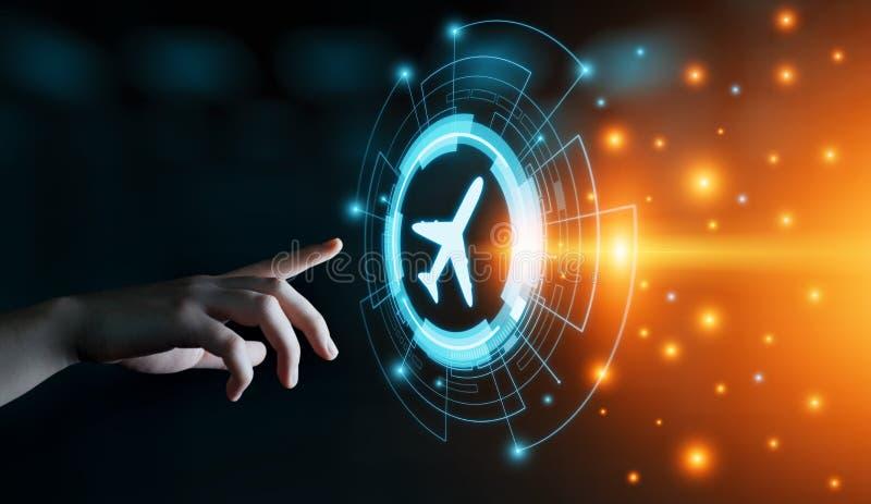Концепция транспорта перемещения технологии дела с самолетами иллюстрация вектора