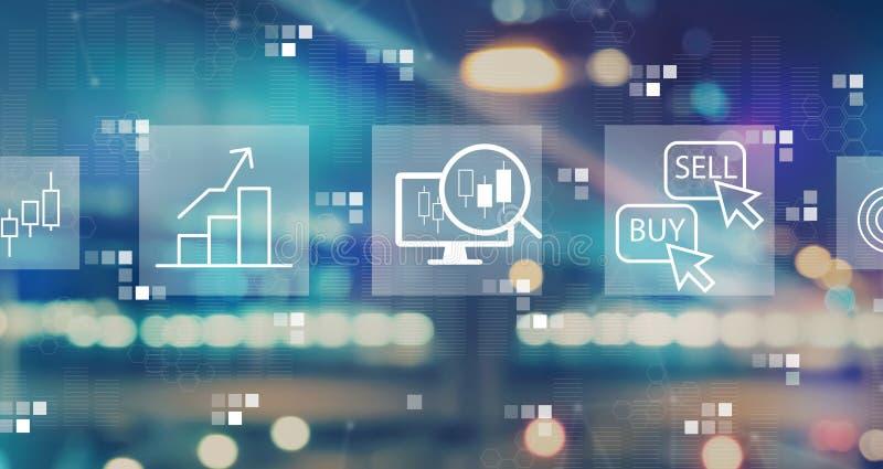Концепция торговли акциями с запачканными светами города стоковое фото