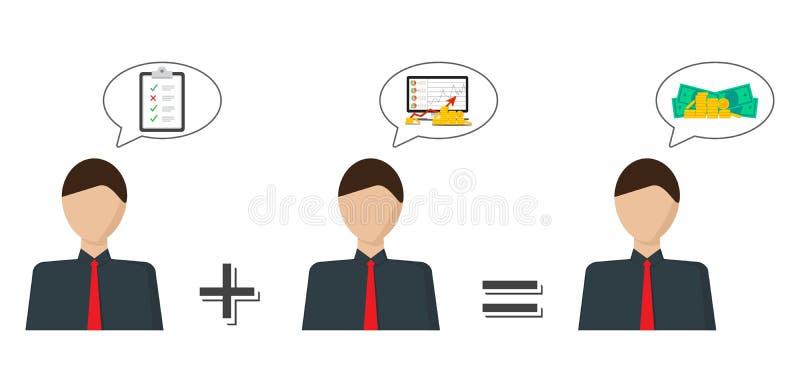 Концепция финансового развития Изображение вектора человека который думает о росте денежной массы иллюстрация вектора