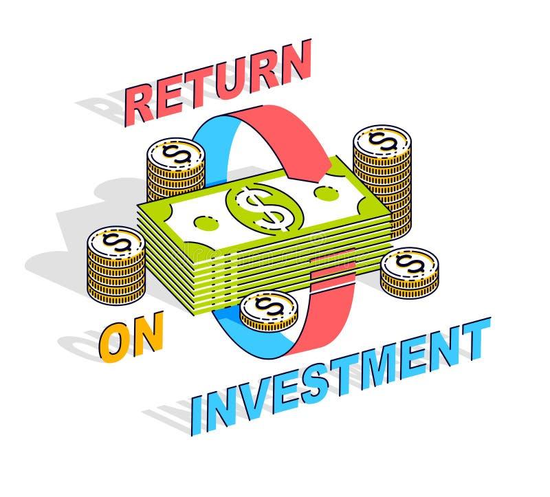 Концепция рентабельности инвестиций, стог денег наличных денег с радиальными стрелками петли вокруг Дело и финансы вектора 3d рав иллюстрация штока