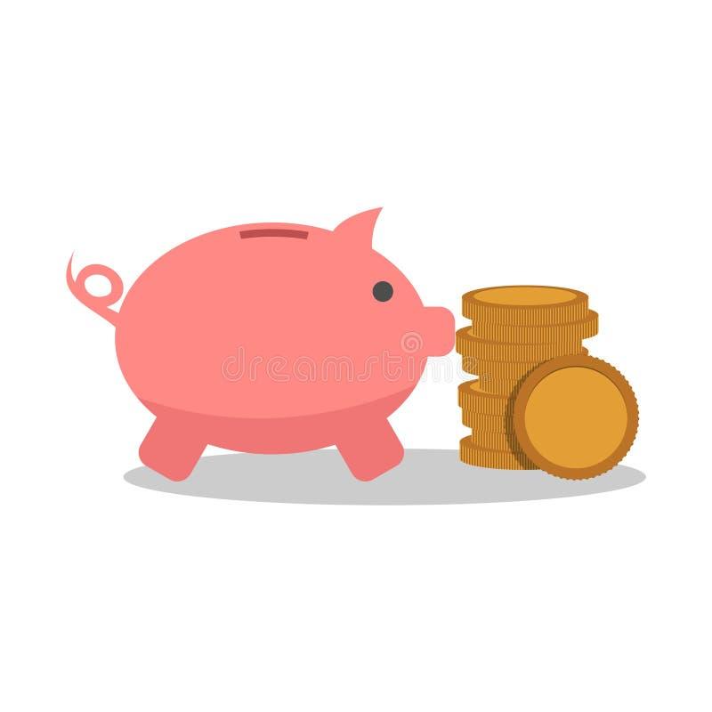 Копилка и значок или знак монеток бесплатная иллюстрация