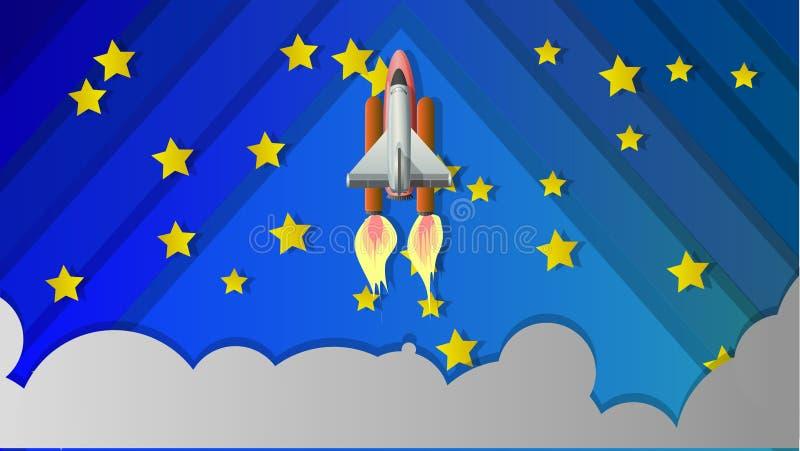 Космический летательный аппарат многоразового использования Иллюстрация в форме коллажа иллюстрация вектора