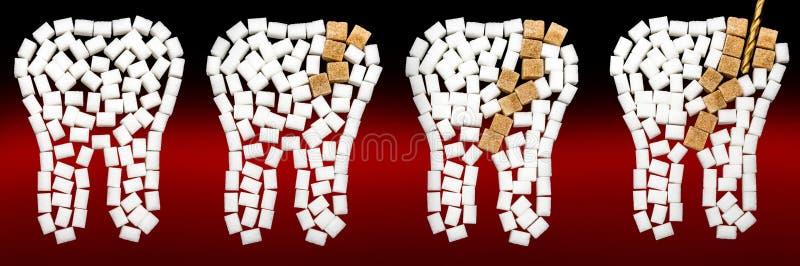 Костоеда сахара на зубе представленном с зубами кускового сахара стоковое изображение