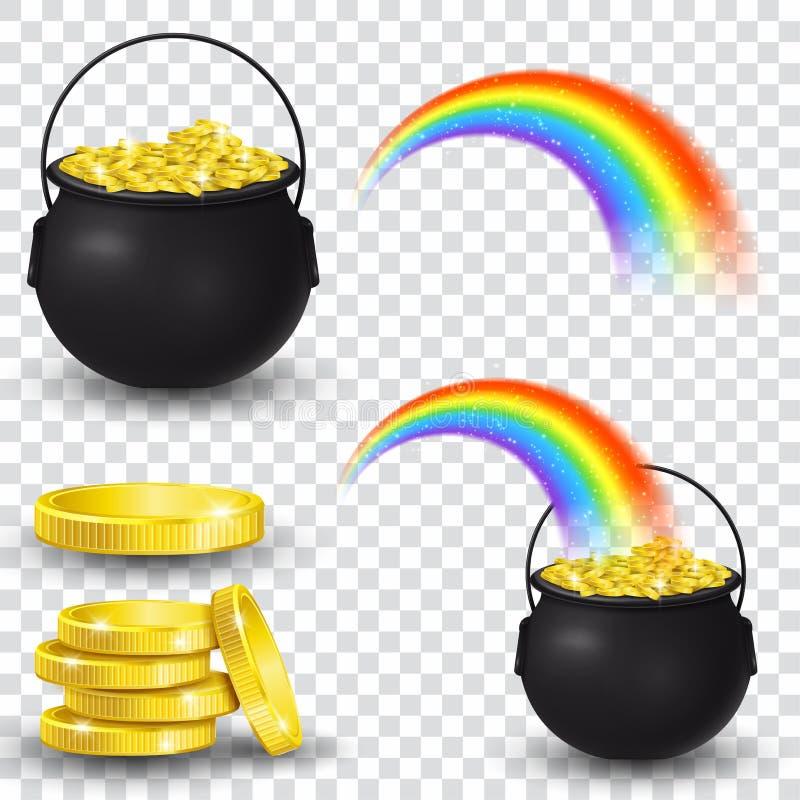 Котел вполне золотых монет и радуги иллюстрация вектора