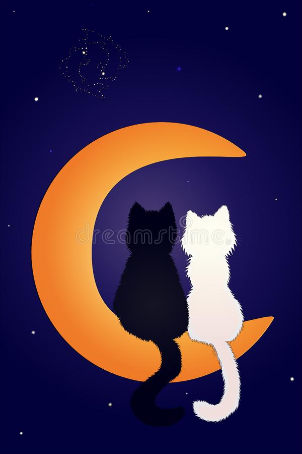 Love is on Cats on the moon. Love is on the air. Cats on the moon and look at the night starry sky considering the constellation of fish royalty free illustration