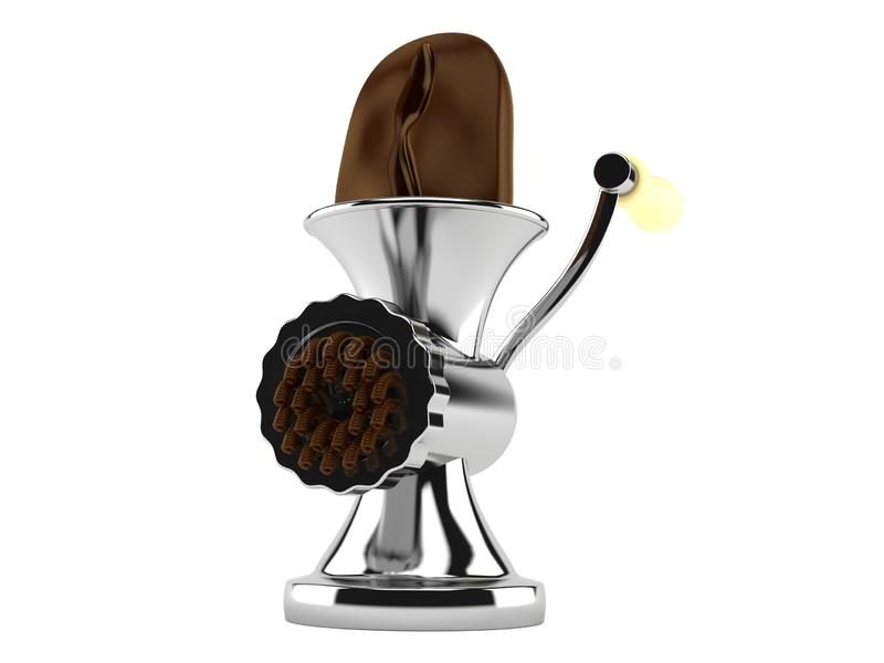 Кофейное зерно внутри mincer иллюстрация вектора