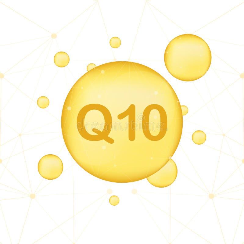 кофермент q10 Значок масла вектора золота Капсула таблетки падения энзима также вектор иллюстрации притяжки corel бесплатная иллюстрация