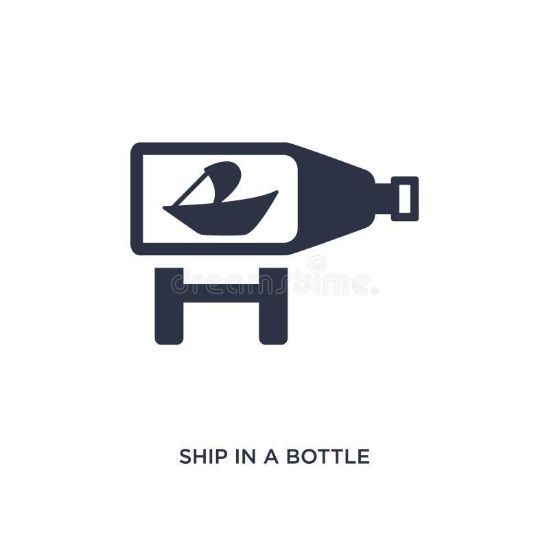 корабль в значке бутылки на белой предпосылке Простая иллюстрация элемента от концепции свободного времени иллюстрация вектора