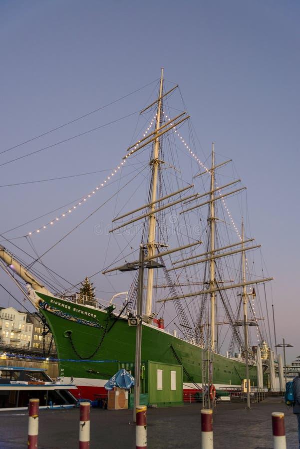 Корабль музея Rickmer Rickmers, Гамбург, Германия стоковое изображение