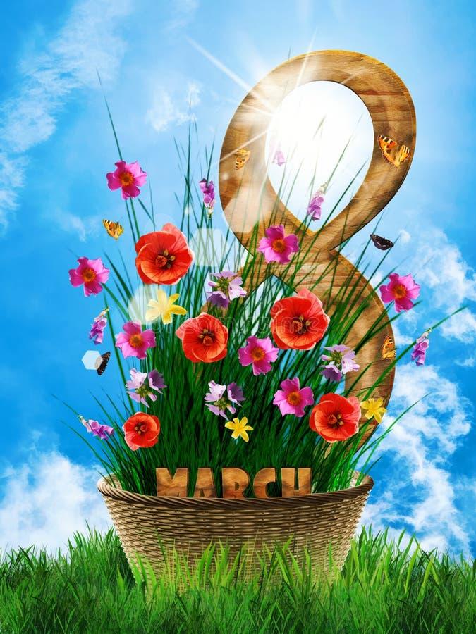 Корзина с днем цветков и деревянных женщин 8 стоковые изображения