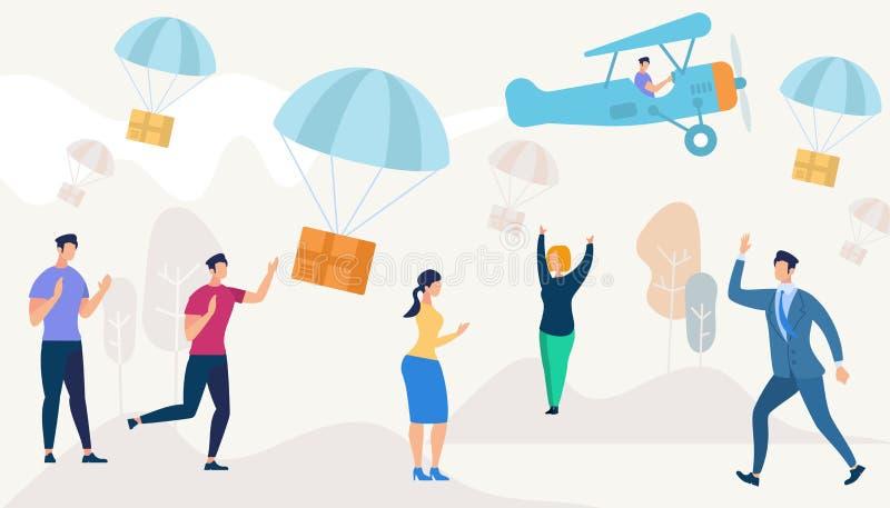 Коробки падая вниз с парашютами от самолета иллюстрация вектора