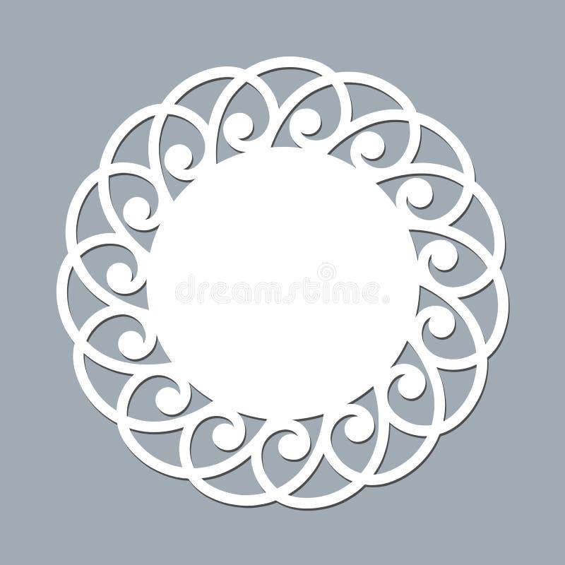 Лазер doily шнурка отрезал бумажный круглый модель-макет шаблона орнамента картины белого элемента дизайна рамки lasercut салфетк иллюстрация штока