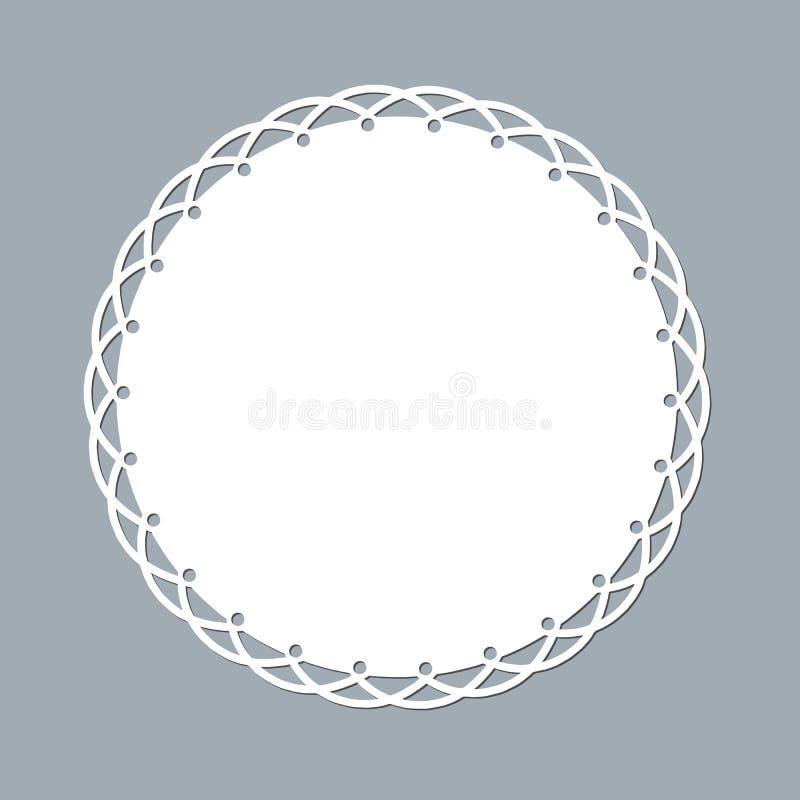 Лазер doily шнурка отрезал бумажный круглый модель-макет шаблона орнамента картины круглого белого элемента дизайна рамки lasercu иллюстрация штока