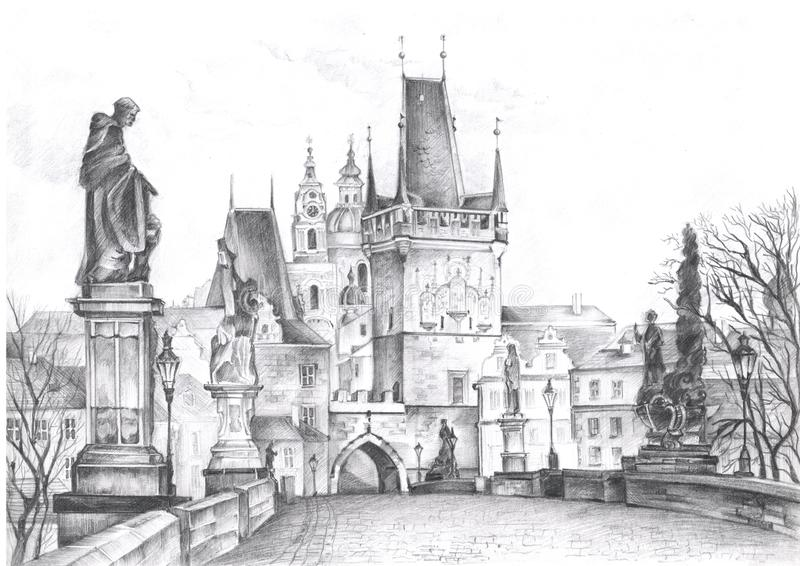 Ландшафты Праги нарисованные в карандаше Визирования Праги стоковое фото
