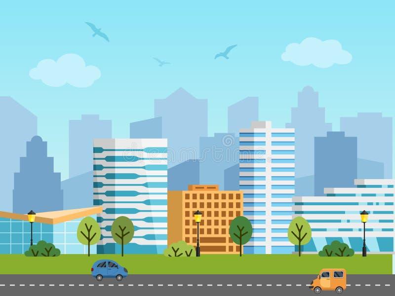 Ландшафт, здания и небоскребы вектора города городской иллюстрация вектора