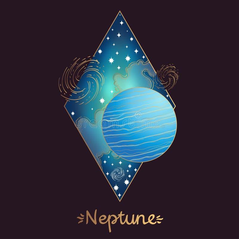Ландшафт планеты косоугольник Нептун иллюстрация штока