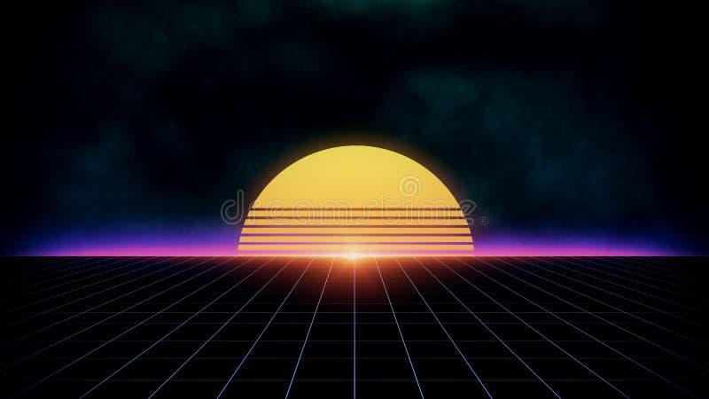 Ландшафт предпосылки научной фантастики футуристический ретро 80's иллюстрация вектора