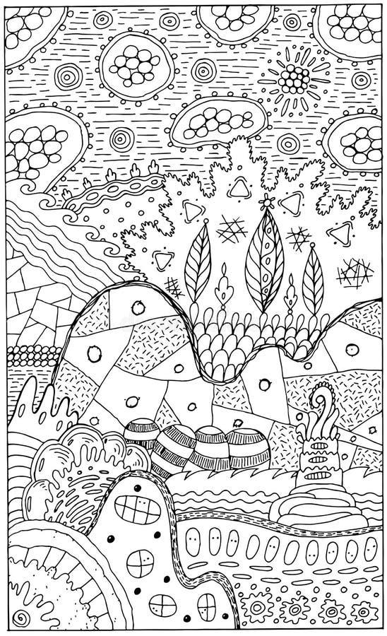 Ландшафт фантазии с сюрреалистическими домами и деревьями Психоделическая фантастическая крася страница для взрослых также вектор иллюстрация вектора