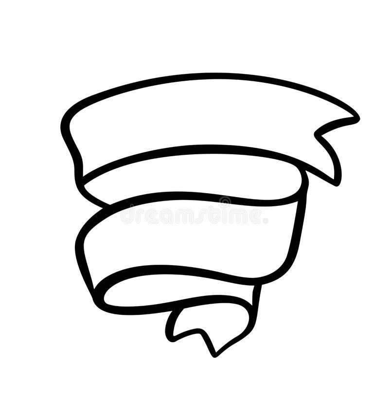 Лента иллюстрации вектора винтажная с местом для текста Дизайн знамени doodle эскиза руки вычерченный изолированный на белизне иллюстрация вектора