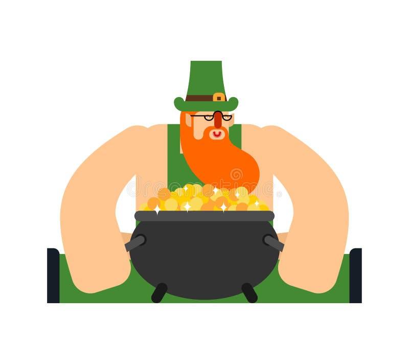 Лепрекон и горшок с золотом Характер дня St Patricks Ирландский праздник Карлик в зеленой шляпе иллюстрация штока