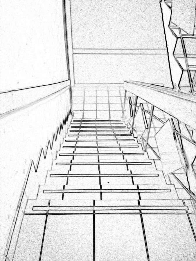 Лестница черно-белая, обрабатывающ как чертеж стоковое изображение rf