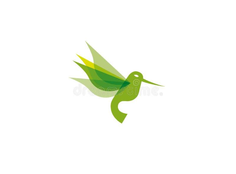 Летание зеленого цвета колибри для иллюстрации дизайна логотипа бесплатная иллюстрация