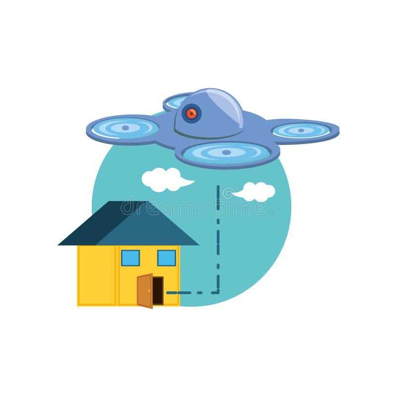 Летание технологии трутня с домом иллюстрация вектора