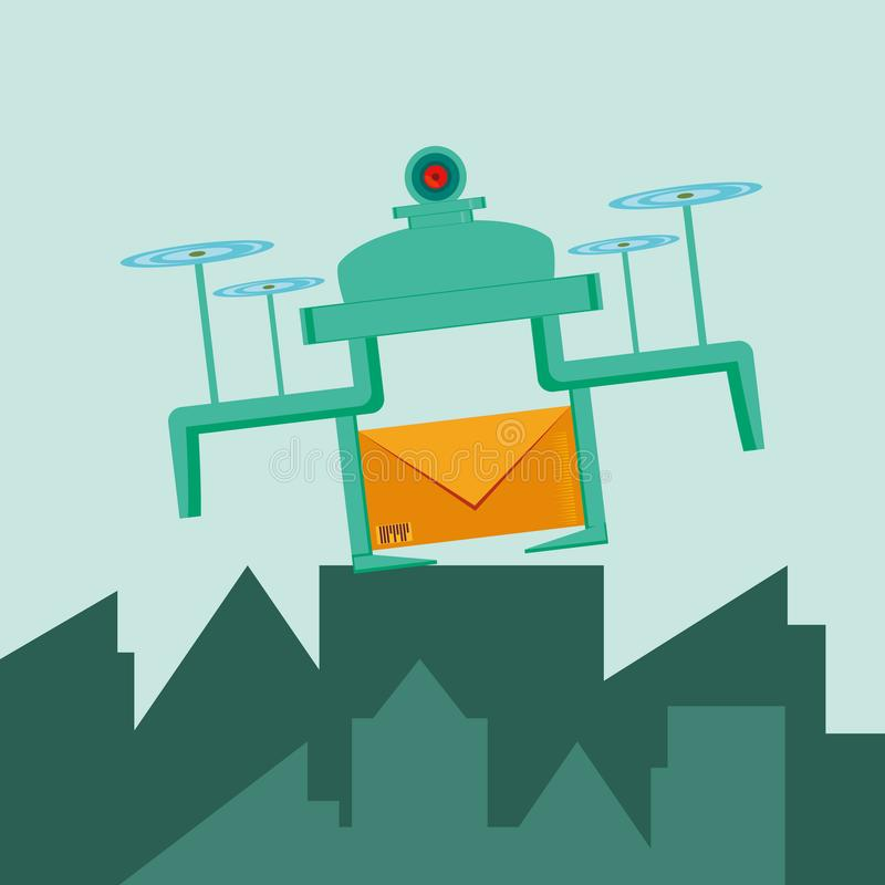 Летание трутня с конвертом в городе иллюстрация вектора