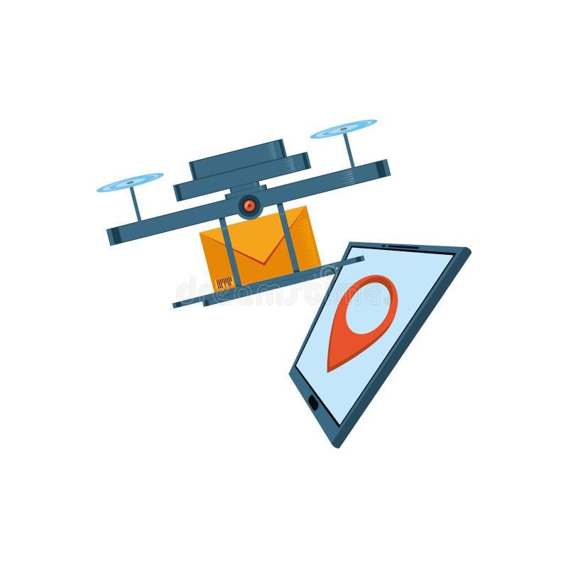 Летание трутня с конвертом и планшетом иллюстрация вектора
