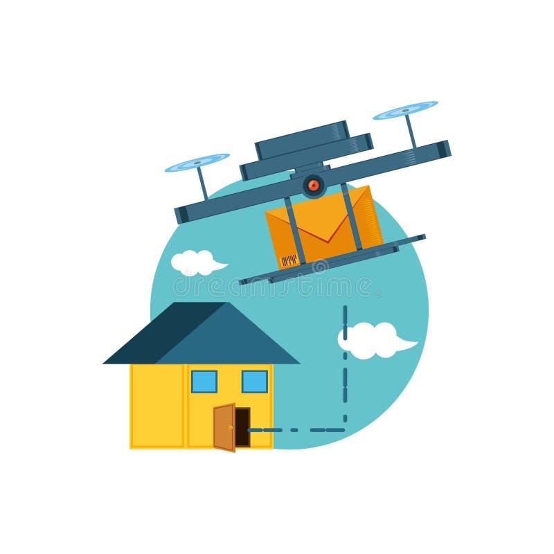 Летание трутня с конвертом и домом бесплатная иллюстрация