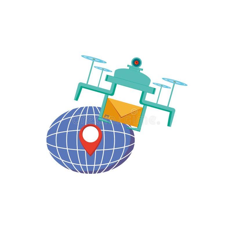 Летание трутня с планетой конверта и сферы бесплатная иллюстрация