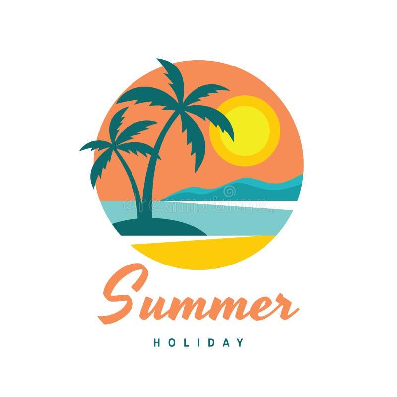 Летний отпуск - иллюстрация вектора логотипа дела концепции в плоском стиле Логотип тропического рая творческий Ладони, остров, п иллюстрация вектора