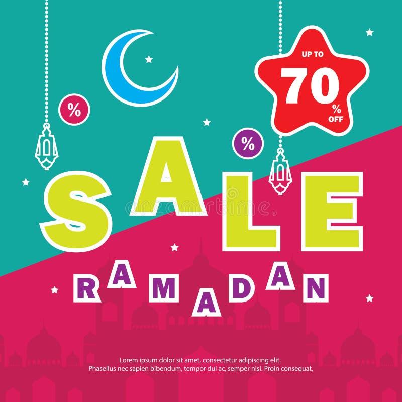 Летчик, продажа, скидка, поздравительная открытка, ярлык или случай знамени Рамазан Kareem и торжества Eid Mubarak иллюстрация штока