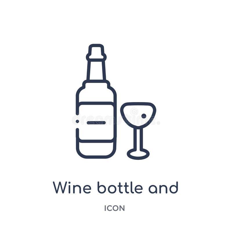 Линейная бутылка вина и стеклянный значок от собрания плана еды Тонкая линия бутылка вина и стеклянный значок изолированные на бе бесплатная иллюстрация