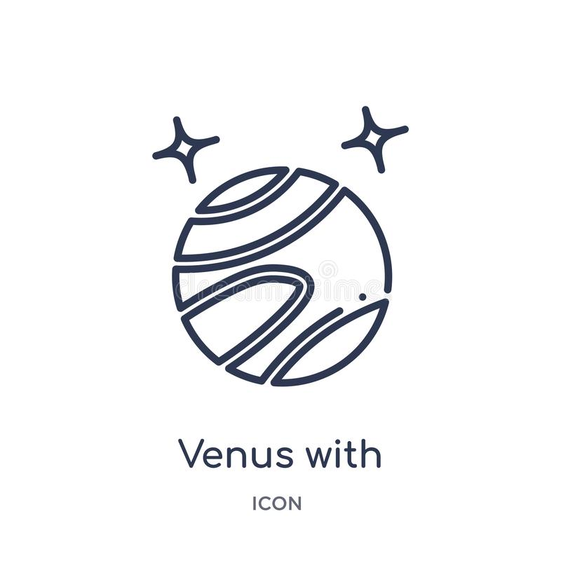 Линейная Венера со спутниковым значком от собрания плана астрономии Тонкая линия Венера со спутниковым вектором изолированная на  иллюстрация вектора