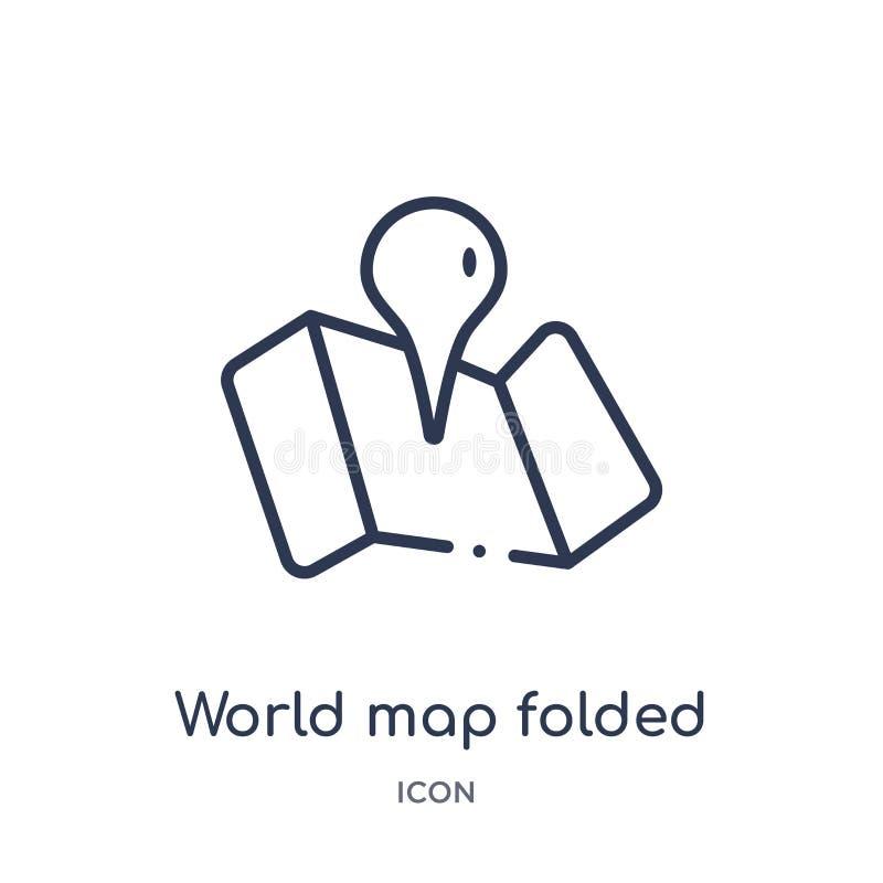 Линейная карта мира сложила значок от собрания плана карт и положений Тонкая линия карта мира сложила значок изолированный на бел иллюстрация штока
