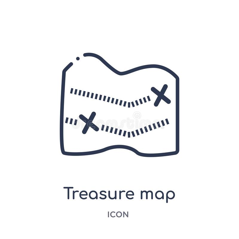 Линейная карта сокровища с x значком от собрание плана карт и флагов Тонкая линия карта сокровища с x значком изолированным на бе иллюстрация вектора