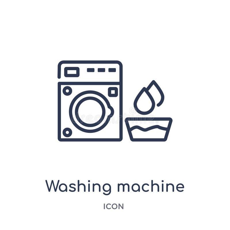 Линейная стиральная машина со значком воды от собрания общего плана Тонкая линия стиральная машина со значком воды изолированным  иллюстрация вектора
