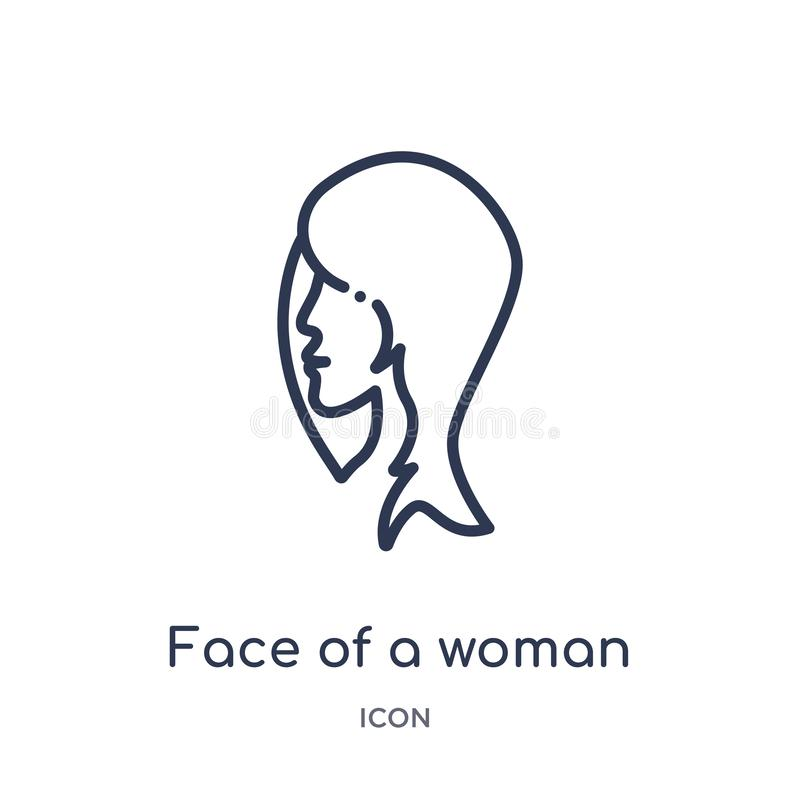 Линейная сторона значка женщины от человеческого собрания плана частей тела Тонкая линия сторона значка женщины изолированного на иллюстрация вектора