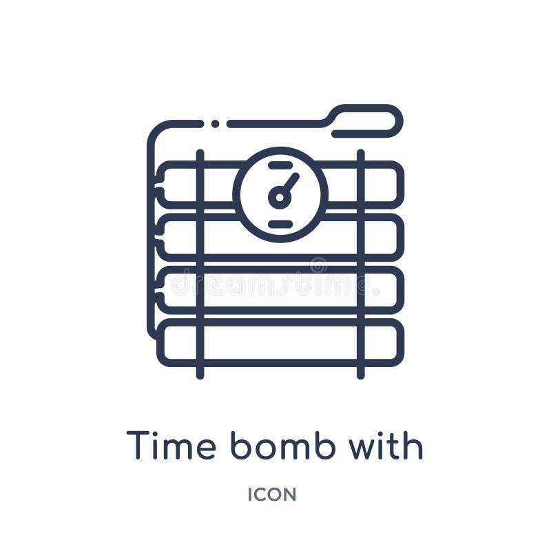 Линейная часовая бомба со значком часов от собрания плана армии и войны Тонкая линия часовая бомба с вектором часов изолированная бесплатная иллюстрация