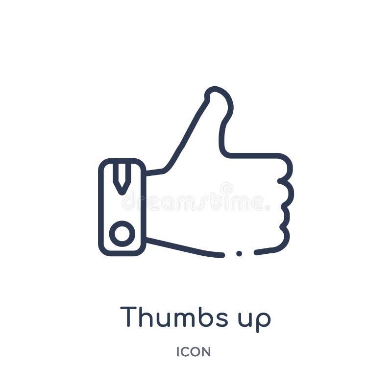 Линейные большие пальцы руки вверх по значку от собрания плана этик Тонкая линия большие пальцы руки вверх по вектору изолированн иллюстрация штока