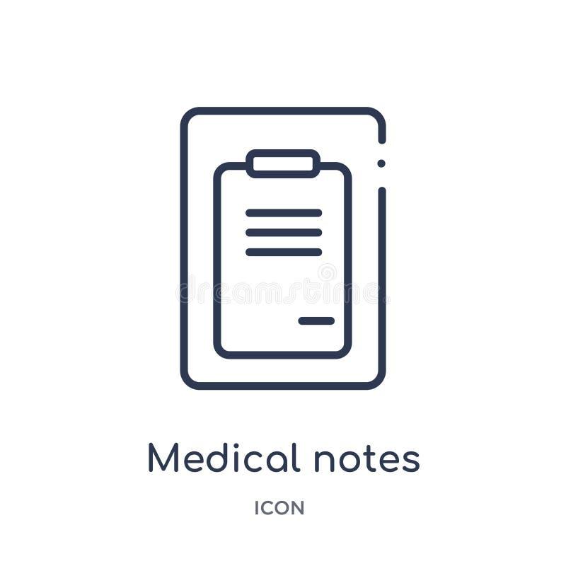 Линейные медицинские примечания бумаги списка на значке доски сзажимом для бумаги от медицинского собрания плана Тонкая линия мед иллюстрация вектора