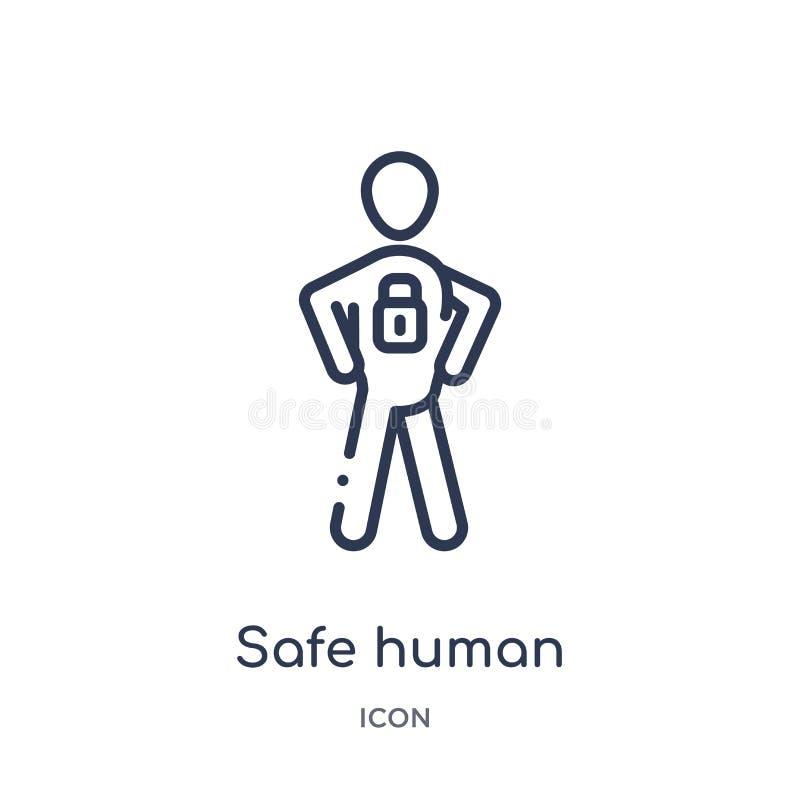 Линейный безопасный человеческий значок от собрания плана чувств Тонкая линия безопасный человеческий вектор изолированный на бел бесплатная иллюстрация