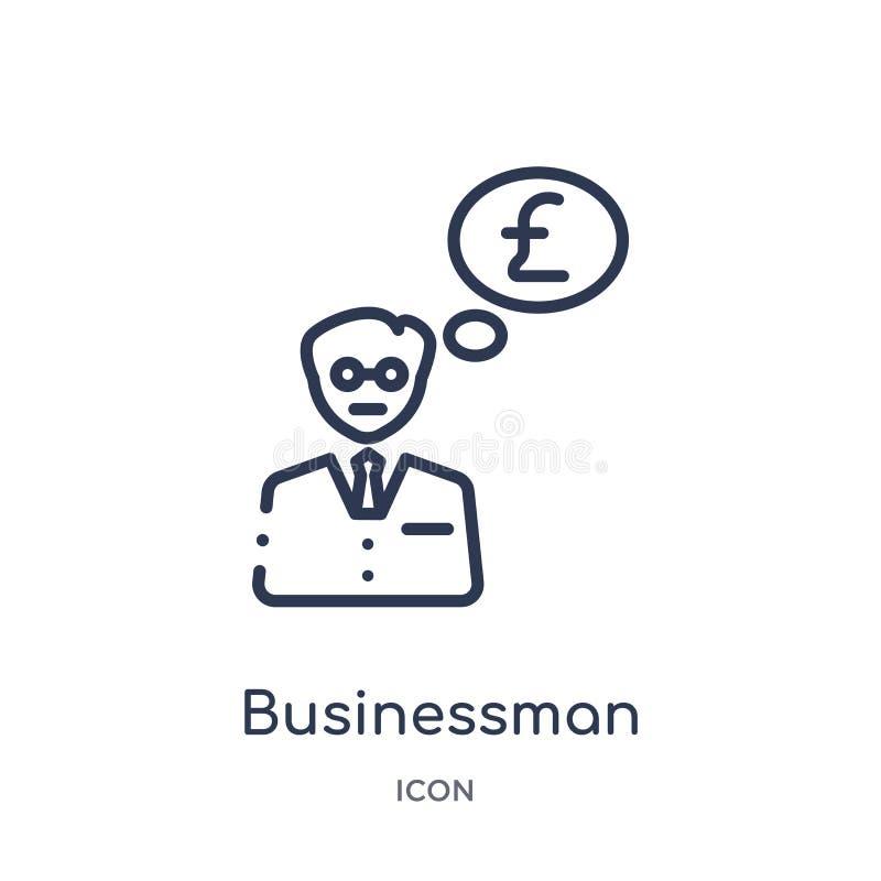 Линейный бизнесмен с сообщением фунтов в значке пузыря речи от собрания плана дела Тонкая линия бизнесмен с фунтами иллюстрация штока