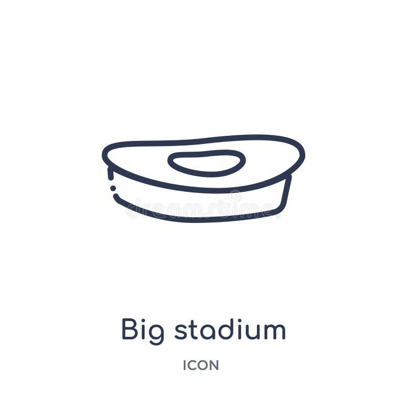 Линейный большой значок стадиона от собрания плана зданий Тонкая линия большой значок стадиона изолированный на белой предпосылке иллюстрация вектора