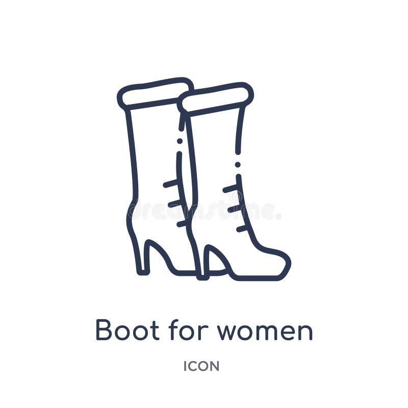 Линейный ботинок для значка женщин от собрания плана моды Тонкая линия ботинок для значка женщин изолированного на белой предпосы иллюстрация вектора