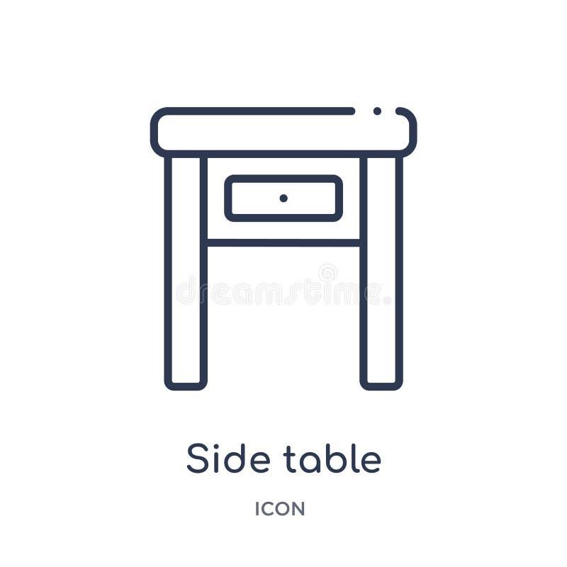 Линейный бортовой значок таблицы от собрания плана мебели Тонкая линия значок таблицы стороны изолированный на белой предпосылке  бесплатная иллюстрация