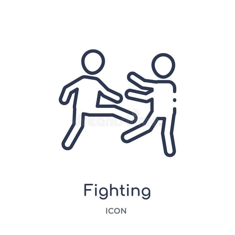Линейный воюя значок от собрания плана людей Тонкая линия значок бой изолированный на белой предпосылке бой ультрамодный иллюстрация вектора