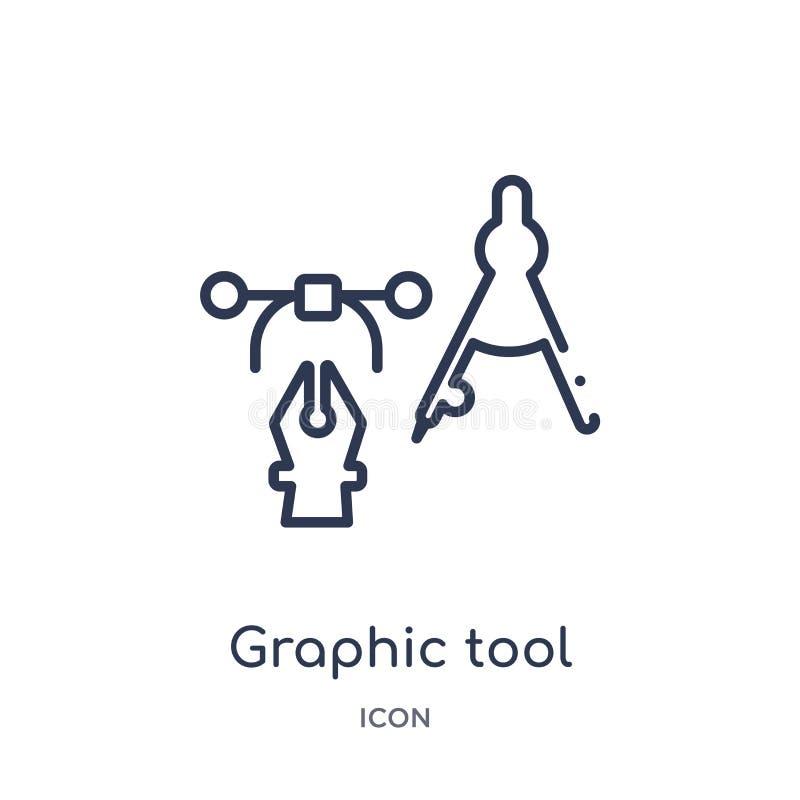 Линейный графический значок инструмента от творческого отростчатого собрания плана Тонкая линия вектор инструмента графика изолир иллюстрация штока