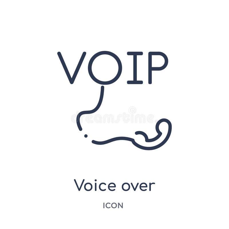 Линейный голос над значком Internet Protocol от безопасности интернета и собрания плана сети Тонкая линия голос над интернетом иллюстрация штока